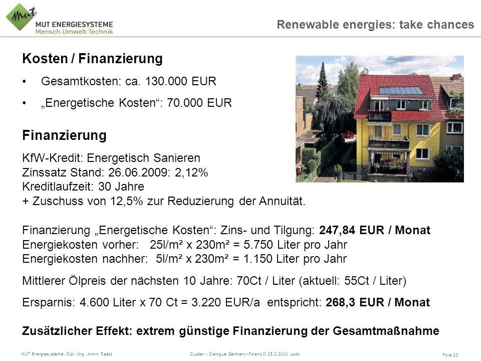 Kosten / Finanzierung Finanzierung Gesamtkosten: ca. 130.000 EUR