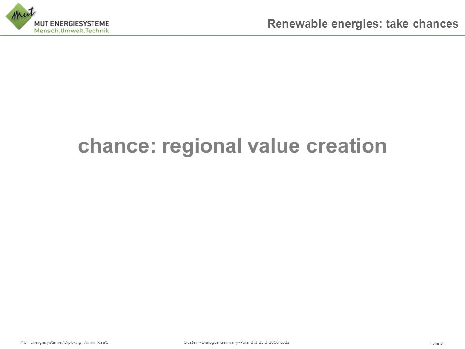 chance: regional value creation