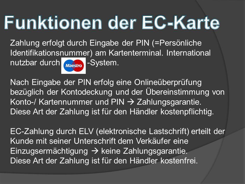 Funktionen der EC-Karte