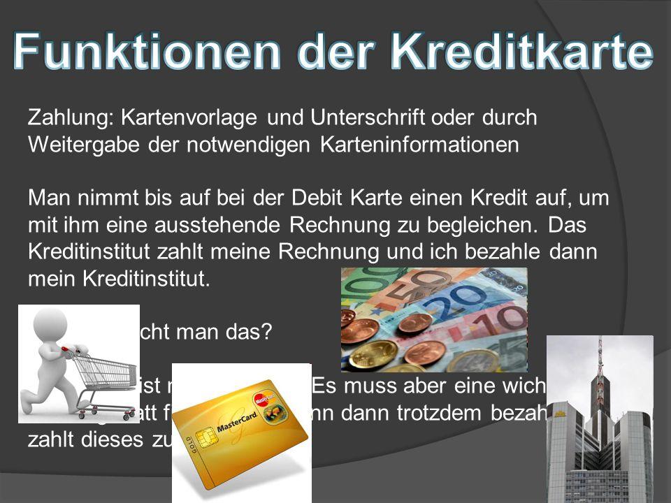 Funktionen der Kreditkarte