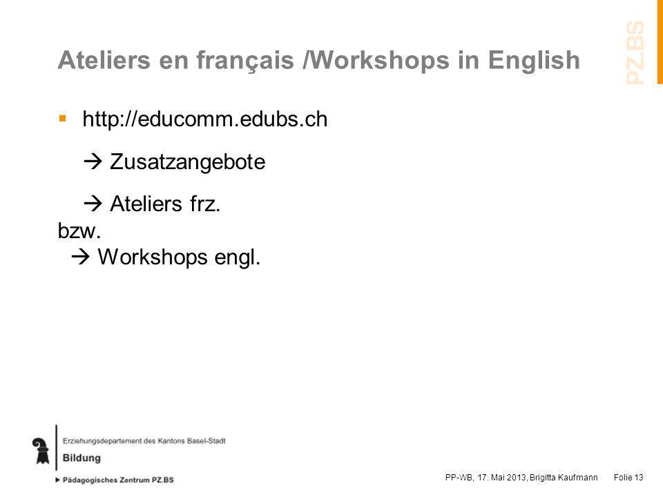 Ateliers en français /Workshops in English