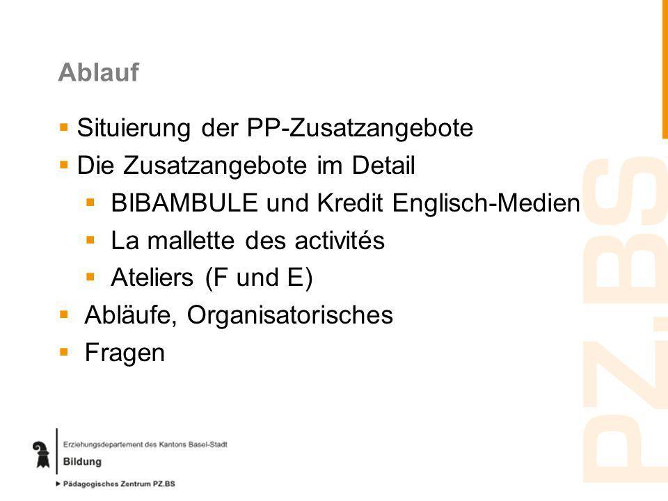 Ablauf Situierung der PP-Zusatzangebote. Die Zusatzangebote im Detail. BIBAMBULE und Kredit Englisch-Medien.
