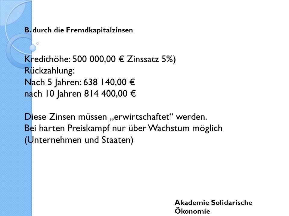 Kredithöhe: 500 000,00 € Zinssatz 5%) Rückzahlung: