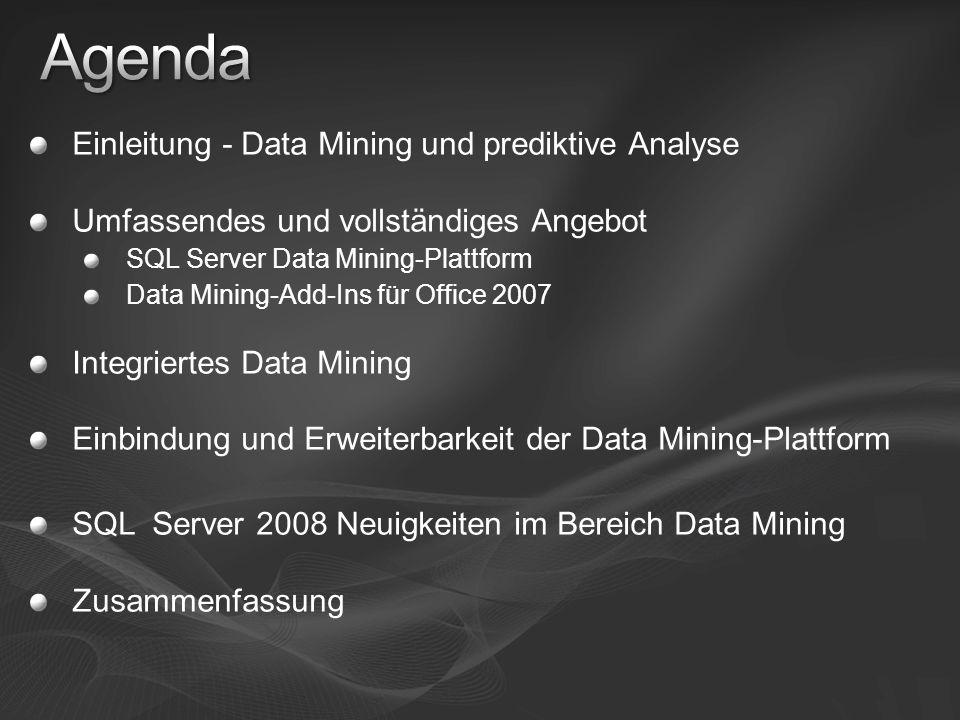 Agenda Einleitung - Data Mining und prediktive Analyse