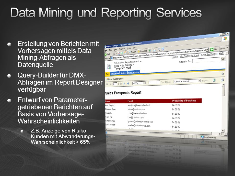 Data Mining und Reporting Services