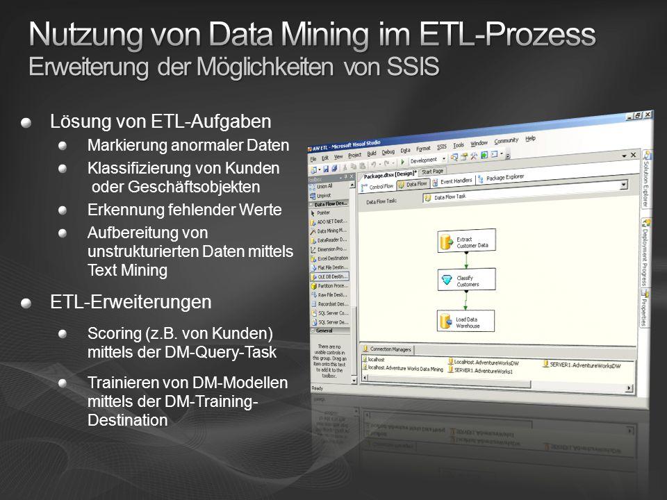 Nutzung von Data Mining im ETL-Prozess Erweiterung der Möglichkeiten von SSIS