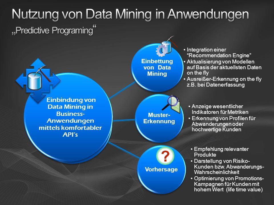 """Nutzung von Data Mining in Anwendungen """"Predictive Programing"""