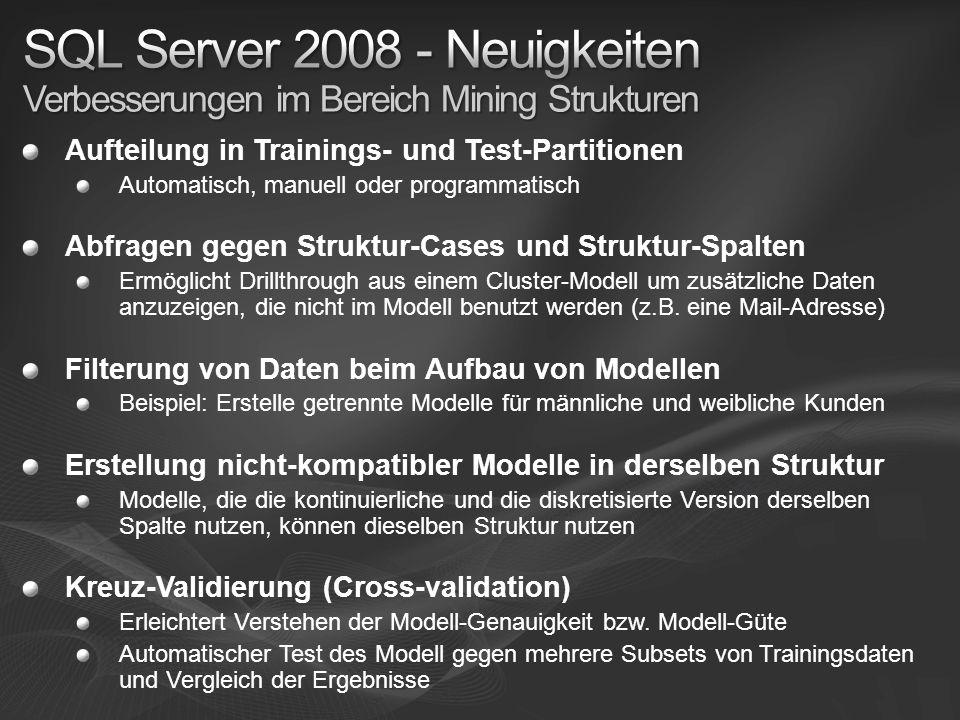 SQL Server 2008 - Neuigkeiten Verbesserungen im Bereich Mining Strukturen