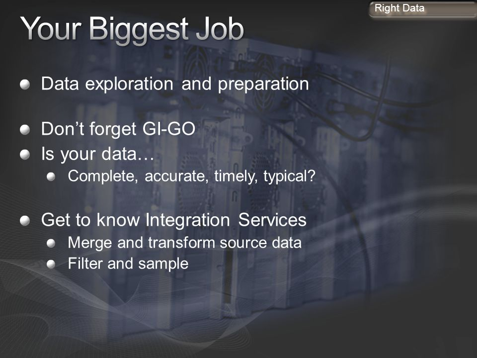 Your Biggest Job Data exploration and preparation Don't forget GI-GO