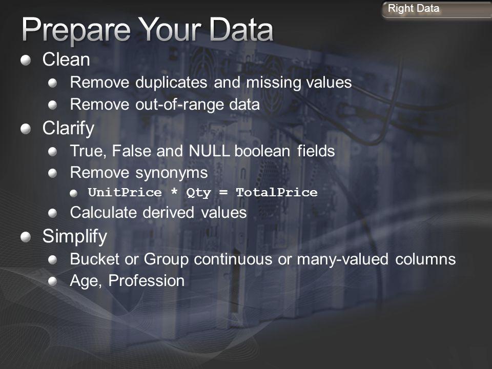 Prepare Your Data Clean Clarify Simplify