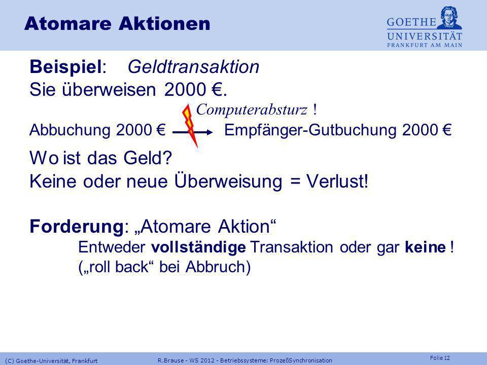 Beispiel: Geldtransaktion Sie überweisen 2000 €.