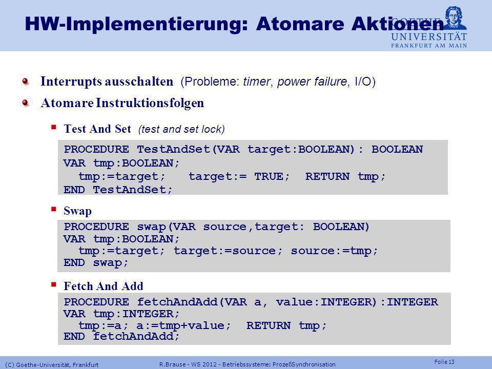 HW-Implementierung: Atomare Aktionen