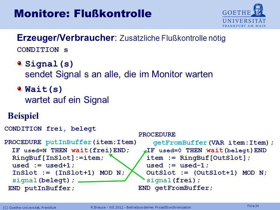 Monitore: Flußkontrolle