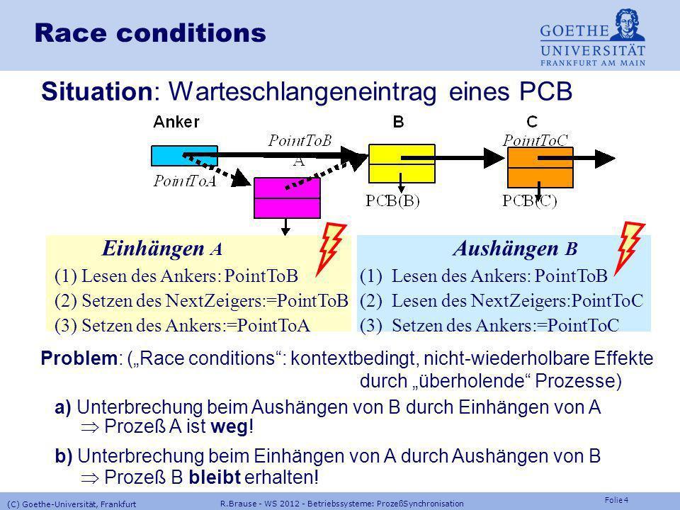 Situation: Warteschlangeneintrag eines PCB