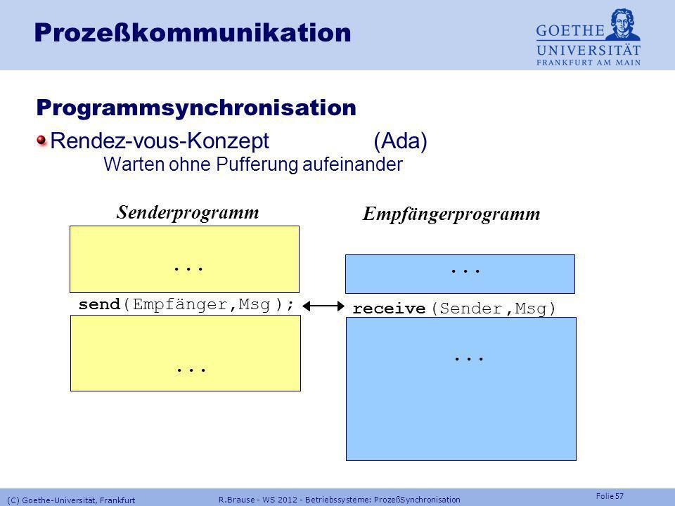 Prozeßkommunikation Programmsynchronisation Rendez-vous-Konzept (Ada)