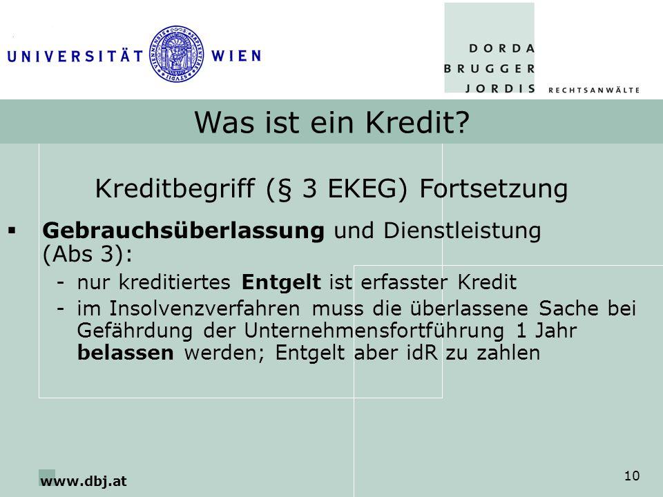 Kreditbegriff (§ 3 EKEG) Fortsetzung