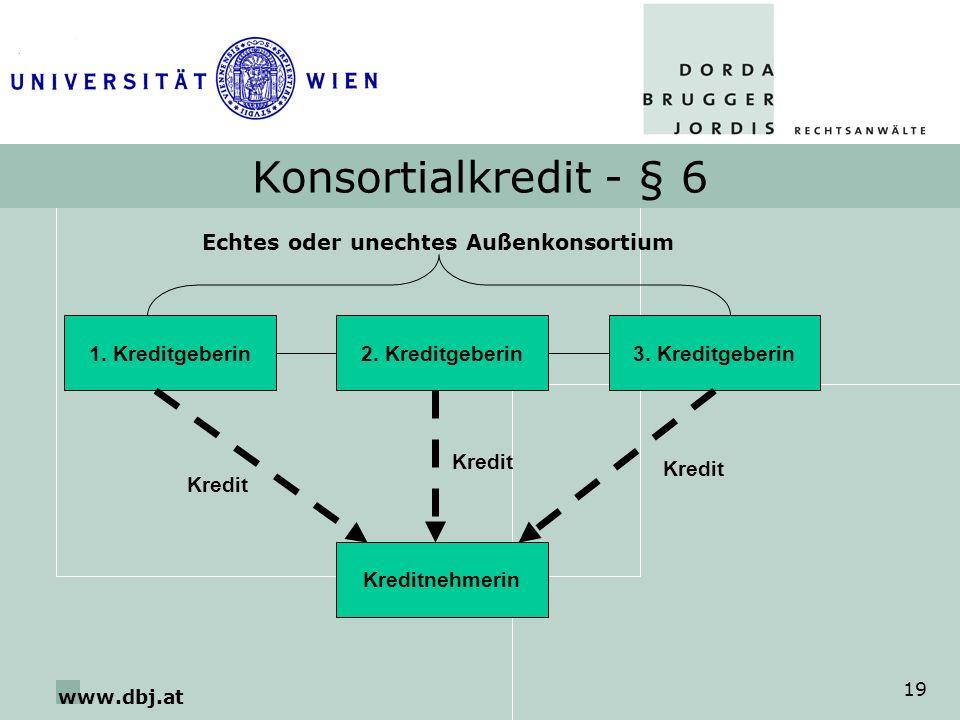 Konsortialkredit - § 6 Echtes oder unechtes Außenkonsortium
