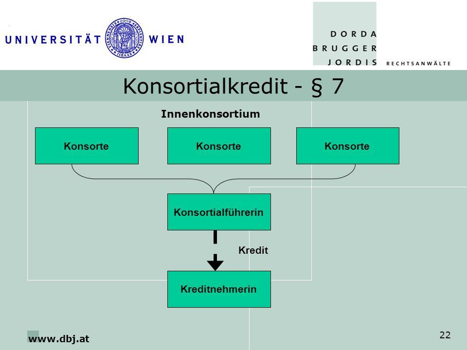 Konsortialkredit - § 7 Innenkonsortium Konsorte Konsorte Konsorte