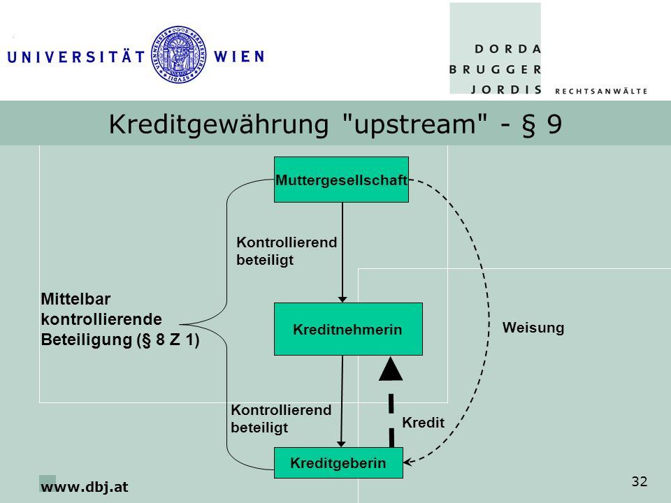 Kreditgewährung upstream - § 9