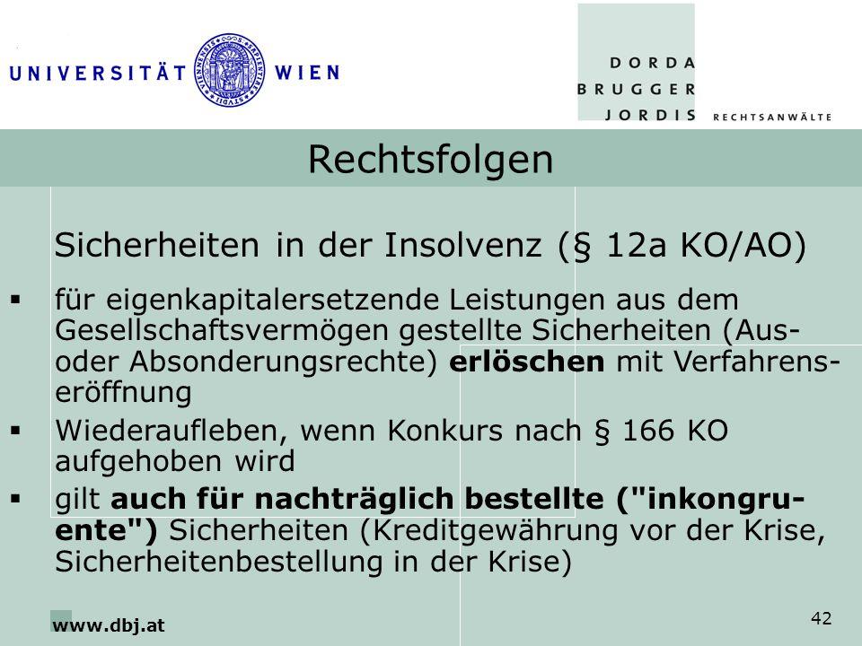Sicherheiten in der Insolvenz (§ 12a KO/AO)