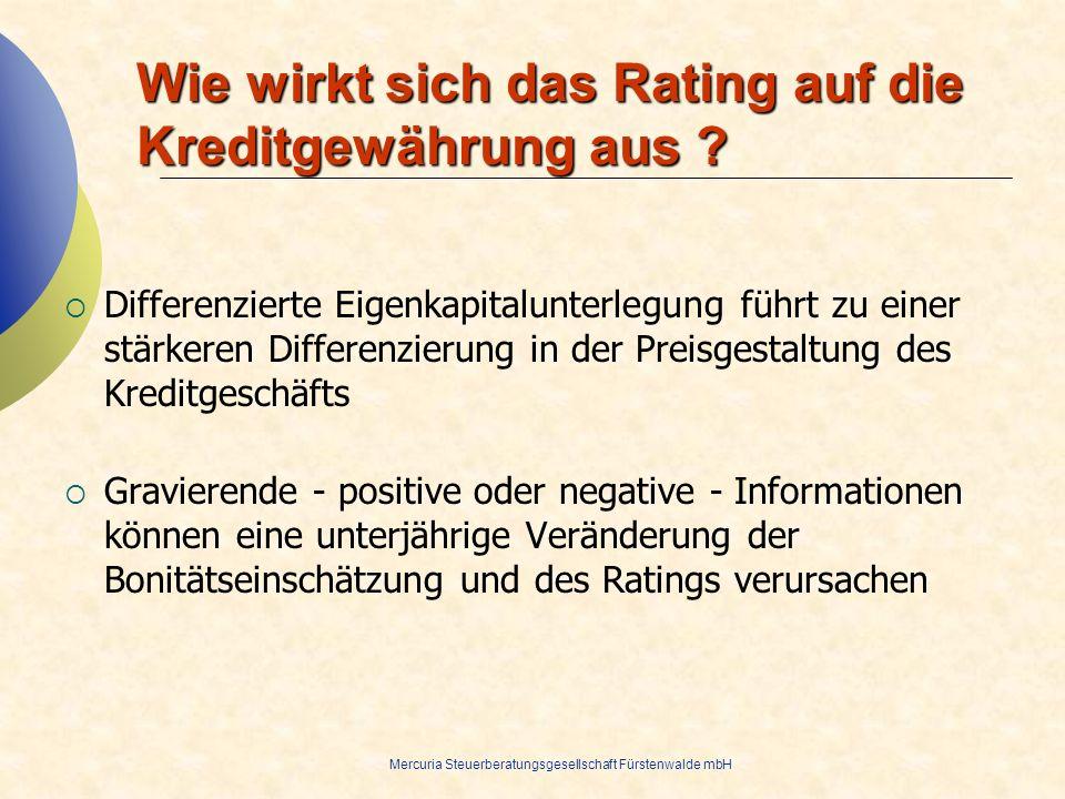 Wie wirkt sich das Rating auf die Kreditgewährung aus