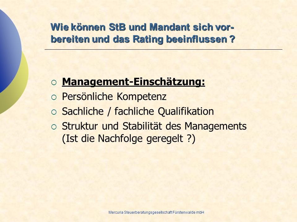 Management-Einschätzung: Persönliche Kompetenz
