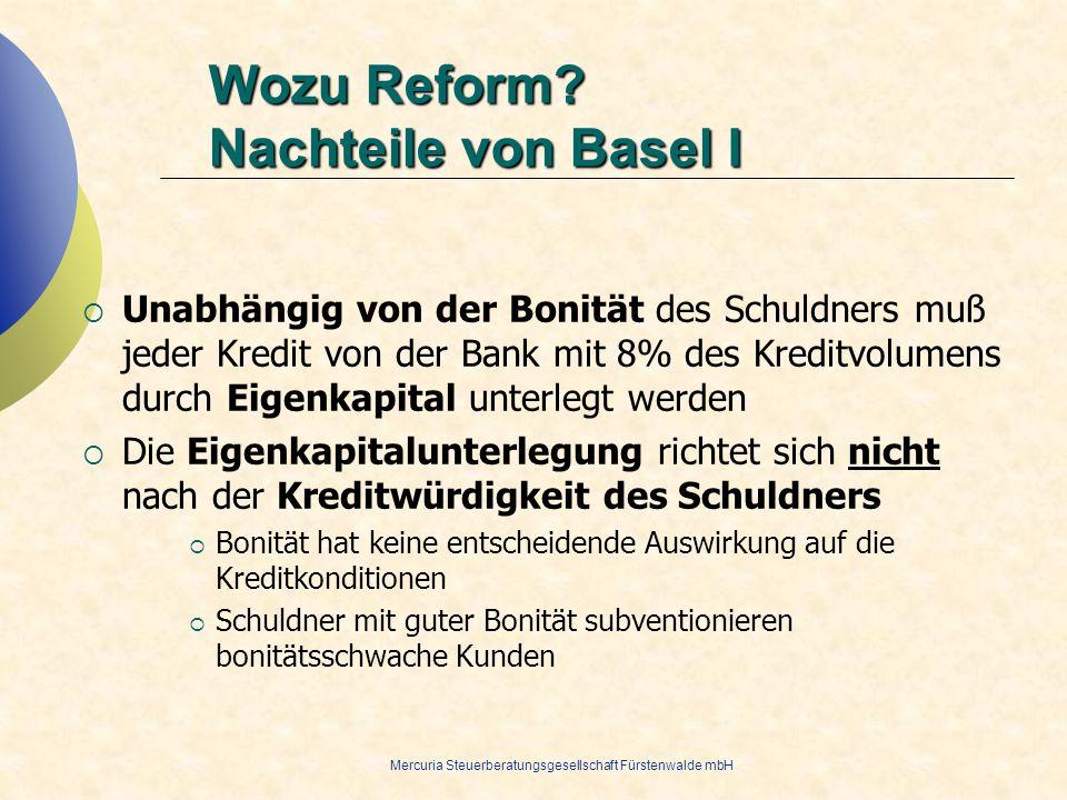 Wozu Reform Nachteile von Basel I