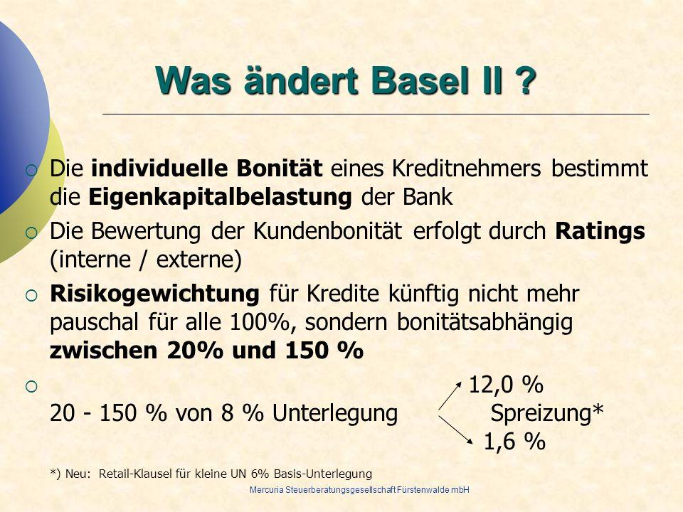 28.03.2017 Was ändert Basel II Die individuelle Bonität eines Kreditnehmers bestimmt die Eigenkapitalbelastung der Bank.