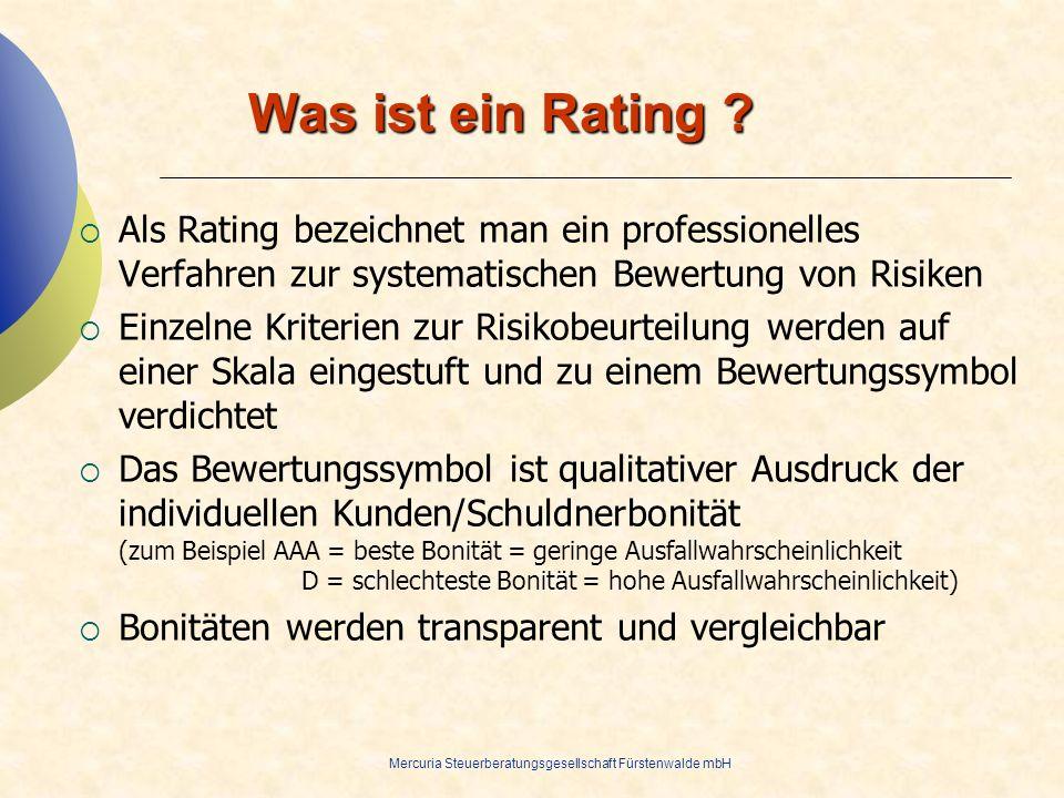 28.03.2017 Was ist ein Rating Als Rating bezeichnet man ein professionelles Verfahren zur systematischen Bewertung von Risiken.