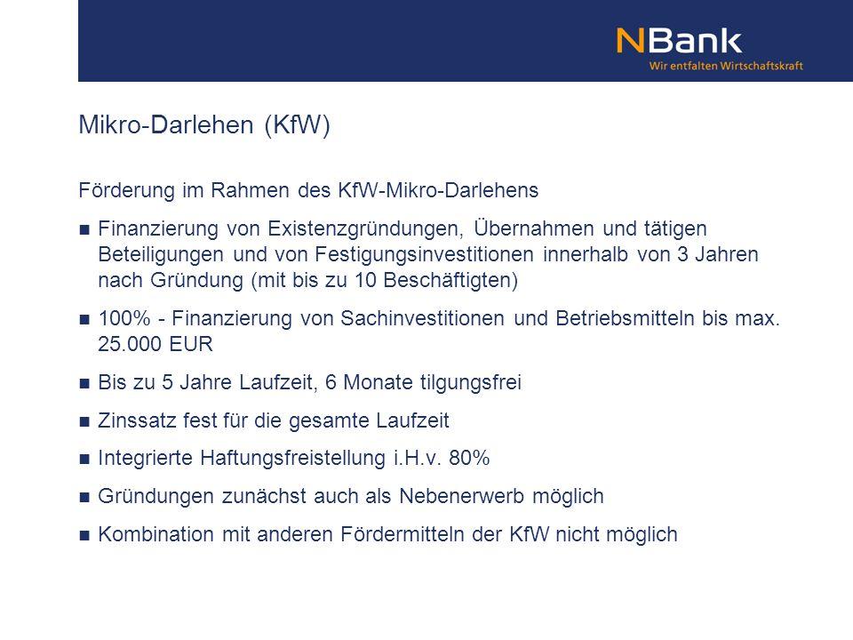 Mikro-Darlehen (KfW) Förderung im Rahmen des KfW-Mikro-Darlehens