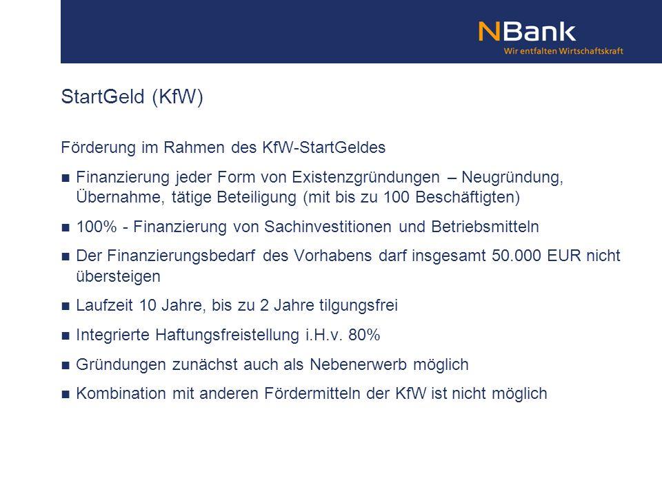 StartGeld (KfW) Förderung im Rahmen des KfW-StartGeldes
