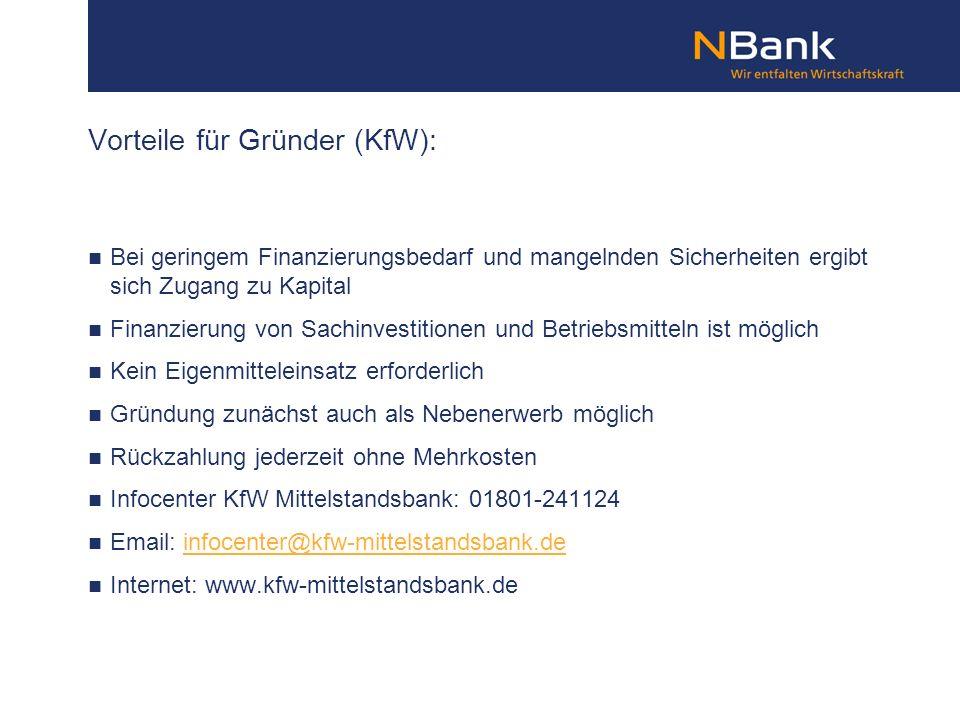 Vorteile für Gründer (KfW):