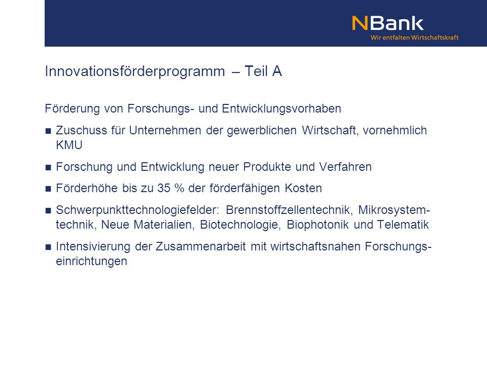 Innovationsförderprogramm – Teil A