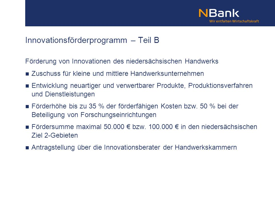 Innovationsförderprogramm – Teil B