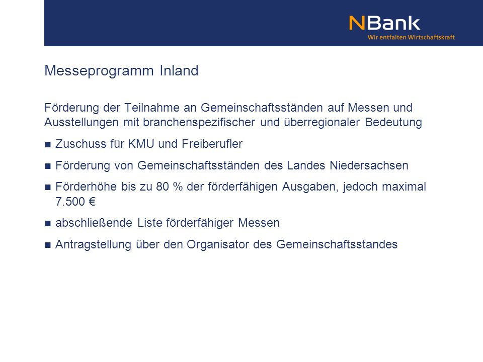 Messeprogramm Inland