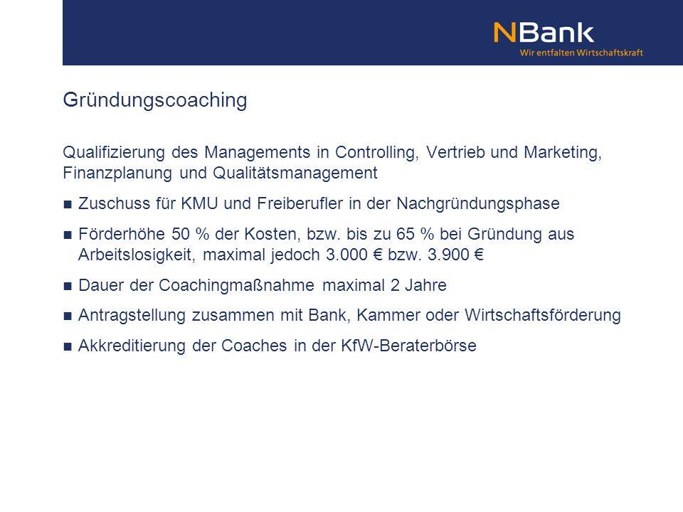 Gründungscoaching Qualifizierung des Managements in Controlling, Vertrieb und Marketing, Finanzplanung und Qualitätsmanagement.