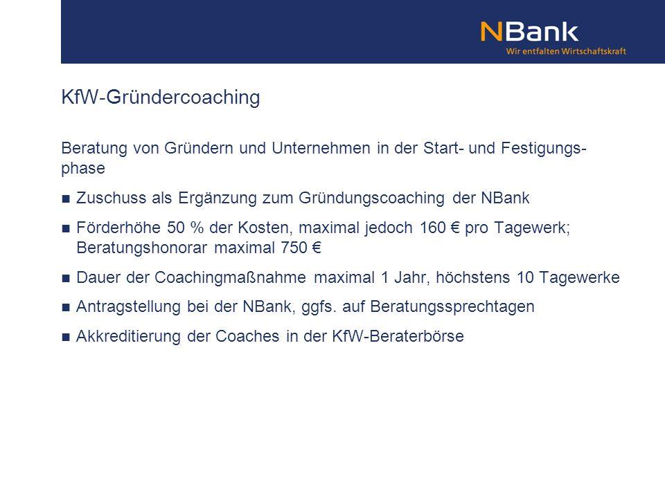 KfW-Gründercoaching Beratung von Gründern und Unternehmen in der Start- und Festigungs- phase.
