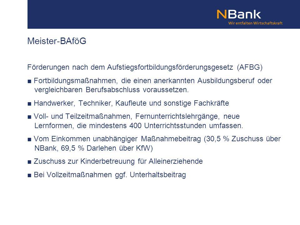Meister-BAföG Förderungen nach dem Aufstiegsfortbildungsförderungsgesetz (AFBG)