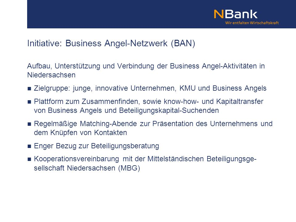 Initiative: Business Angel-Netzwerk (BAN)