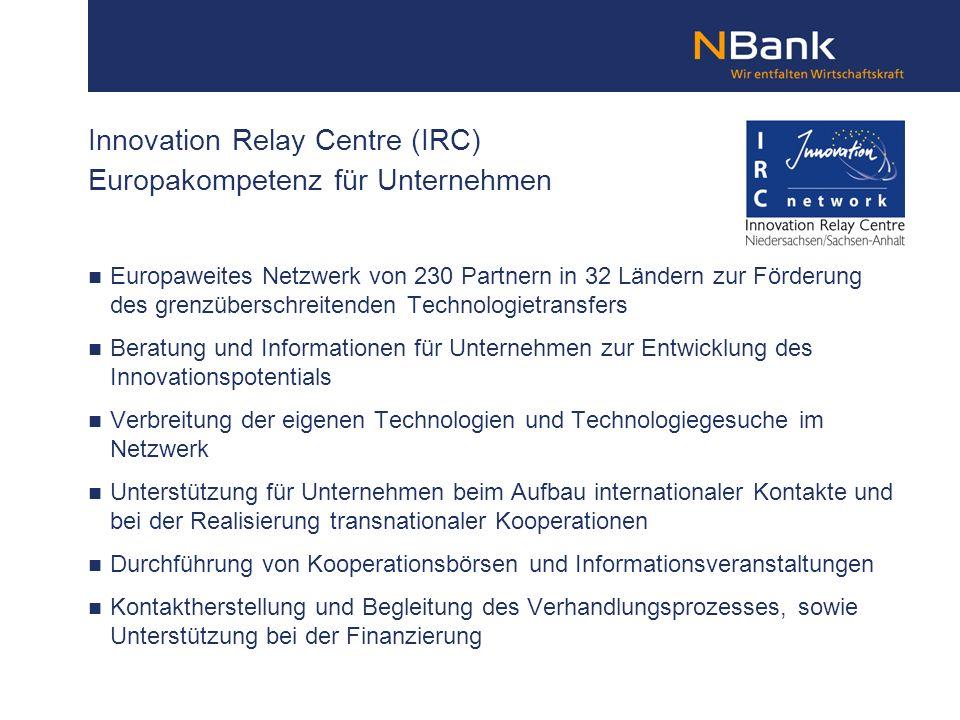 Innovation Relay Centre (IRC) Europakompetenz für Unternehmen