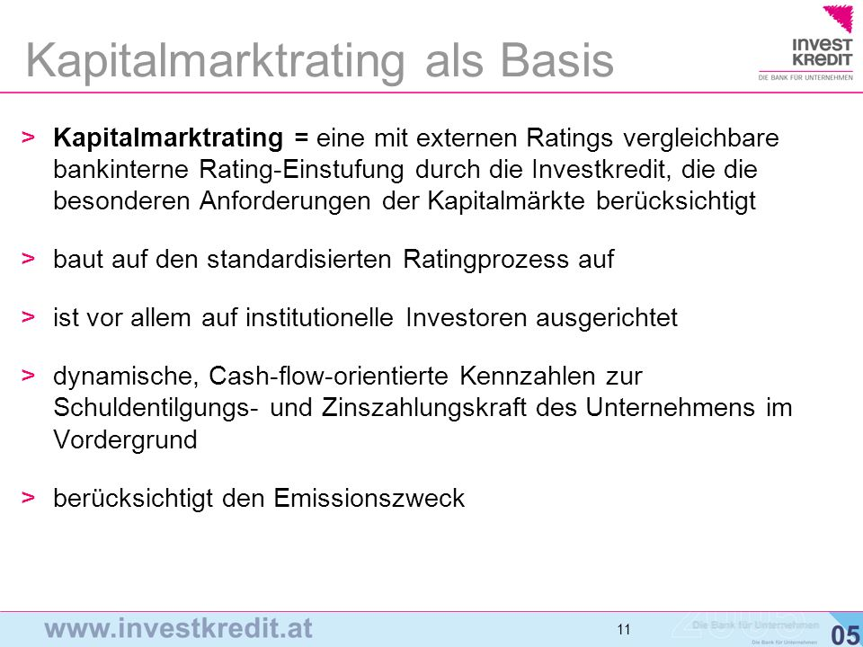 Kapitalmarktrating als Basis