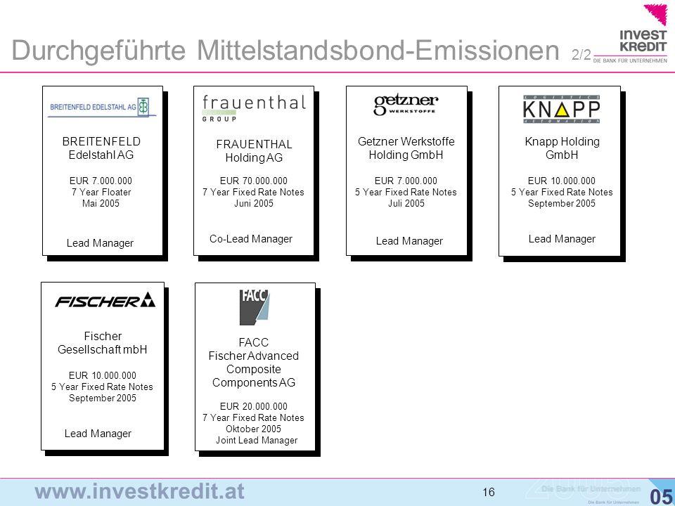 Durchgeführte Mittelstandsbond-Emissionen 2/2