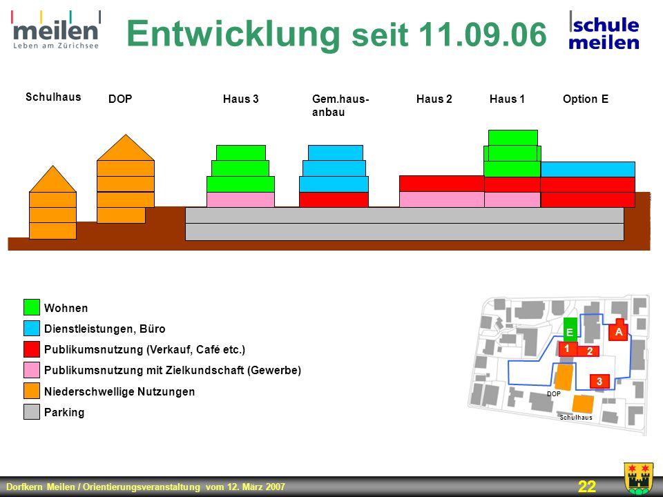 Entwicklung seit 11.09.06 Schulhaus DOP Haus 3 Gem.haus- anbau Haus 2