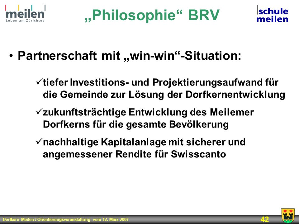 """Philosophie BRV Partnerschaft mit ""win-win -Situation:"
