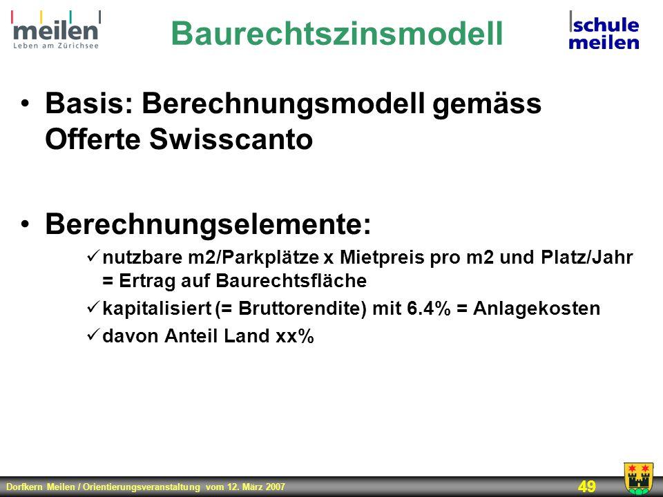 Baurechtszinsmodell Basis: Berechnungsmodell gemäss Offerte Swisscanto