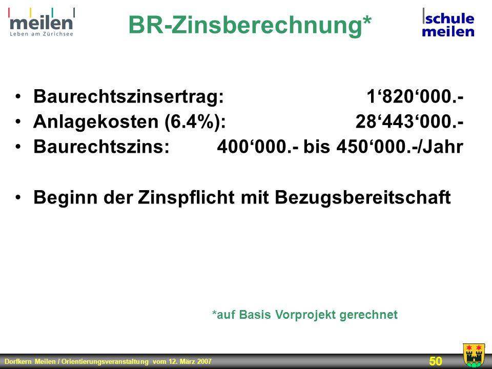BR-Zinsberechnung* Baurechtszinsertrag: 1'820'000.-