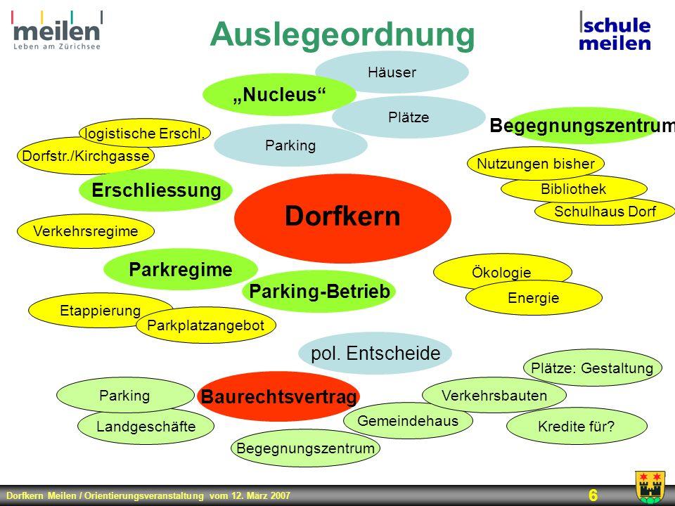 """Auslegeordnung Dorfkern """"Nucleus Begegnungszentrum Erschliessung"""