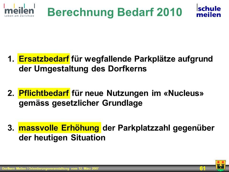 Berechnung Bedarf 2010Ersatzbedarf für wegfallende Parkplätze aufgrund der Umgestaltung des Dorfkerns.