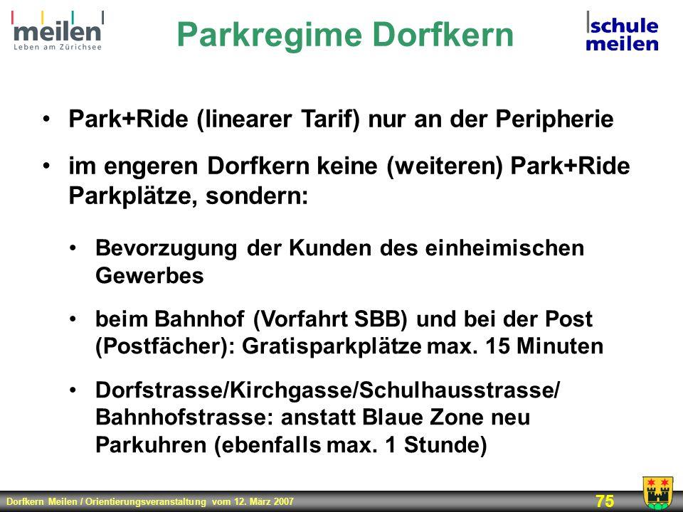 Parkregime Dorfkern Park+Ride (linearer Tarif) nur an der Peripherie