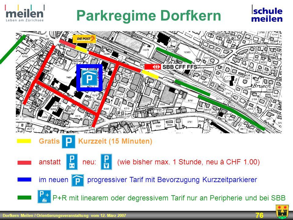 Parkregime Dorfkern P+R mit linearem oder degressivem Tarif nur an Peripherie und bei SBB. Gratis Kurzzeit (15 Minuten)